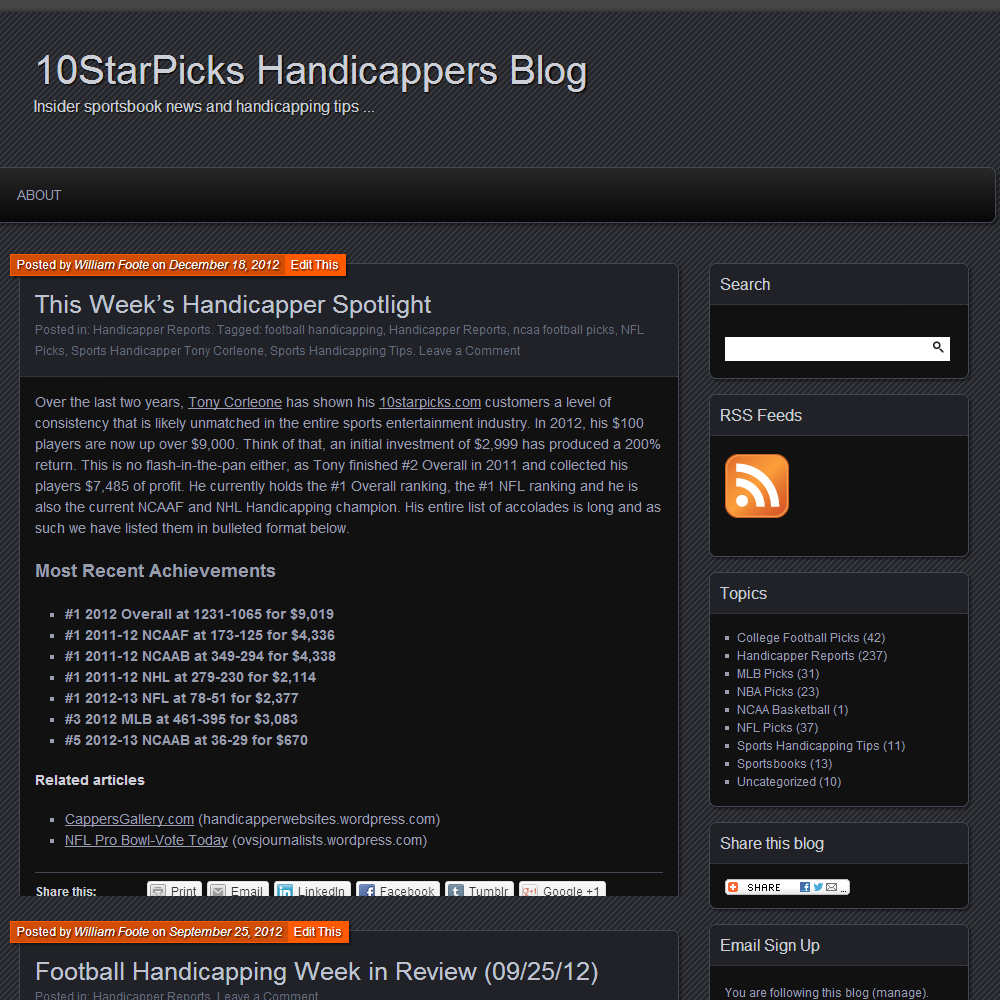 10StarPicks Handicapper Blog